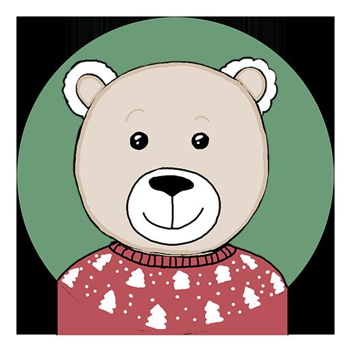 Badge Ours pour Noël